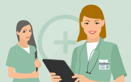 nurse and doctor with digital tablet and patient document on their hands Imagens - 24637621