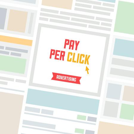 advertisement: Website-Seite mit einfachen Werbebanner Ort und Pay-per-Click Werbung im Internet Modell Illustration