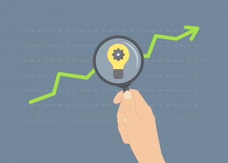 ビジネスの上昇、将来の成長のためのアイデア、さらに金融と経済の将来の分析の分析の平らな設計図は現代概念
