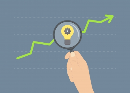 Flaches Design moderne Illustration Konzept der Analyse von Geschäfts Anstieg, Ideen für das zukünftige Wachstum, Analytik von weiteren finanziellen und wirtschaftlichen Zukunft Standard-Bild - 24637644