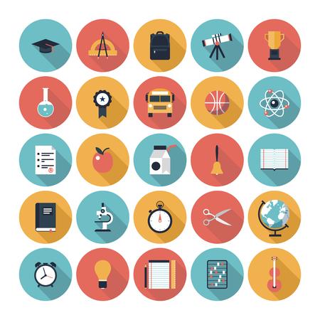 onderwijs: Moderne vlakke pictogrammen vector collectie met lange schaduw in stijlvolle kleuren op de middelbare school en universiteit onderwijs met lesgeven en leren symbool en object Stock Illustratie