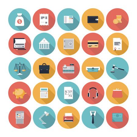 icono: artículos para el servicio financiero, símbolo gestión empresarial, contabilidad bancaria y objetos de dinero Vectores