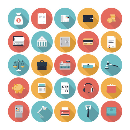 ecommerce icons: financial service items, business management symbol, banking accounting and money objects