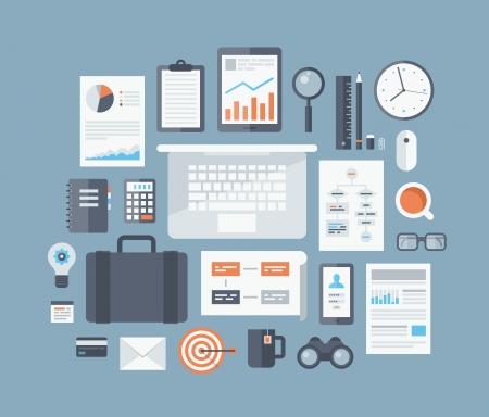 플랫: 비즈니스 워크 플로 항목과 요소, 사무실 물건 및 장비, 금융 및 마케팅 객체
