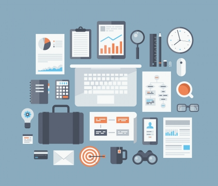 business workflow items and elements, office things and equipment, finance and marketing objects Vector