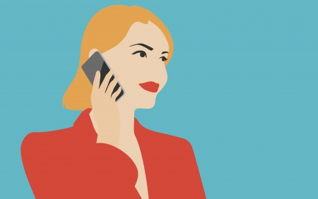 woman holding modern mobile device and talking on the mobile phone Vector