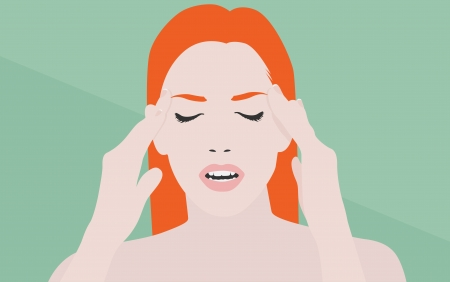 headache: young girl with hands on face suffering from headache or migraine pain Illustration