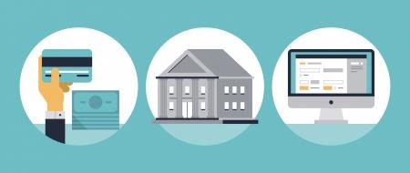 cuenta bancaria: servicios financieros con tarjeta de cr�dito y moderno edificio del banco Vectores
