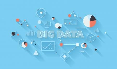 빅 데이터 통계 및 검색 분석의 평면 디자인 현대 벡터 일러스트 레이 션 개념, 다른 산업의 고급 다양한 데이터 유형의 분석, 통신 기술 및 대규모 데