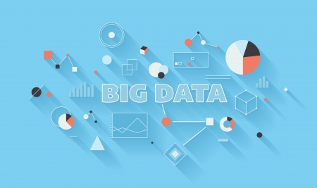 Flat design modern vector illustration concept of big data statistics and search analysis, complex process of advanced analytics of various data types, communication technology and large database research in different industry  Isolated on stylish colored