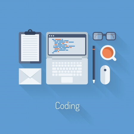 css: Illustrazione design piatto moderno concetto di vettore di codifica e programmazione sul computer portatile con gli oggetti del flusso di lavoro e icone isolati su elegante sfondo blu pagina web processo
