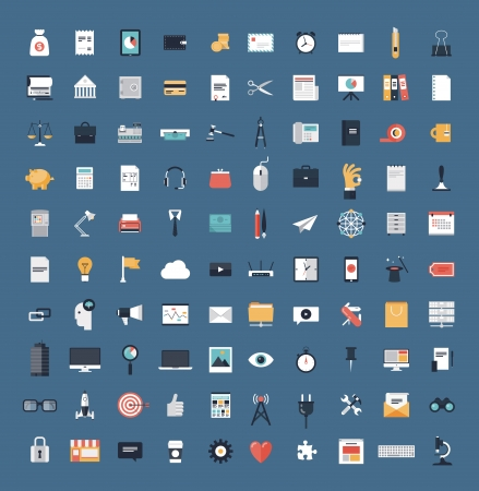 Flat icons design modern vector illustration big set of various financial service items, web and technology development, business management symbol, marketing items and office equipment  Isolated on simple background  Ilustração