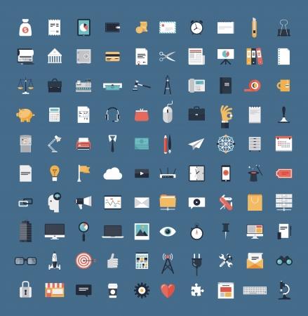 articulos oficina: Iconos planos moderno dise�o ilustraci�n vectorial gran conjunto de diversos elementos de servicios financieros, la web y la tecnolog�a de desarrollo, s�mbolo de la gesti�n empresarial, elementos de marketing y equipos de oficina aislados en fondo simple Vectores