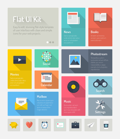 Flat design modern vector illustration concept of minimalistic stylish infographic webpage elements with icons set or abstract metro user interface kit with simple navigation for web project  Isolated on light gray background  Vector