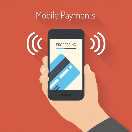 tarjeta de credito: Ilustraci�n vectorial de estilo Dise�o plano del smartphone moderno con el procesamiento de pagos m�viles de tarjeta de cr�dito en la pantalla Cerca concepto de la tecnolog�a de comunicaci�n de campo aislada en fondo rojo
