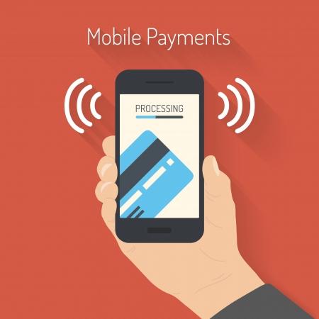 overdracht: Plat ontwerp stijl vector illustratie van de moderne smartphone met de verwerking van mobiele betalingen van credit card op het scherm Near Field Communication-technologie concept geà ¯ soleerd op rode achtergrond
