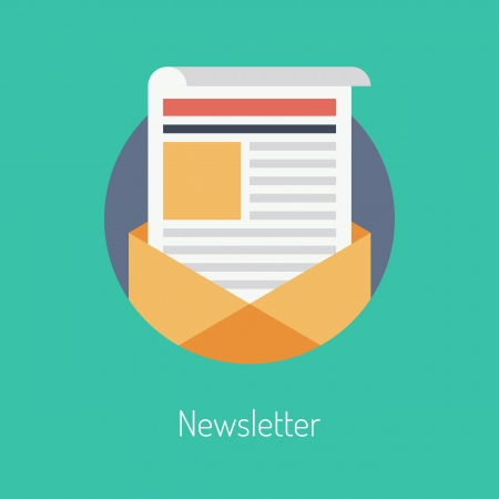 newletter: Illustrazione design piatto moderno concetto di vettore di pubblicazione regolarmente distribuiti via e-mail con alcuni temi di interesse per i suoi abbonati isolati su elegante sfondo di colore Vettoriali