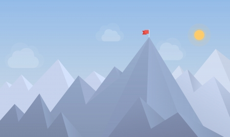 results: Flat design modern vector illustration concept with copy space of flag on the mountain peak, meaning overcoming difficulties, goals achievement, winning strategy with focus on results  Isolated on blue background