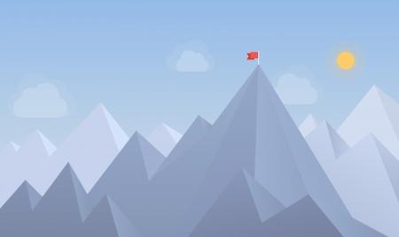 climbing: Ilustraci�n vectorial Dise�o plano moderno concepto con el espacio de la copia de la bandera en el pico de la monta�a, lo que significa la superaci�n de las dificultades, los logros objetivos, ganando estrategia con enfoque en resultados aislados sobre fondo azul Vectores