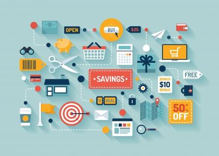 Plat ontwerp vector illustratie concept met iconen van retail handel en marketing elementen zoals promotie, coupon, korting en diverse winkels en geldeconomie teken en symbool op een stijlvolle achtergrond kleur