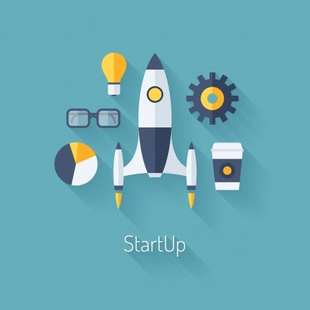 kezdetek: Lapos kialakítás modern vektoros illusztráció fogalmának új üzleti projekt indítási fejlődés és elindít egy új innovációs terméket piacon elszigetelt stílusos színes háttér