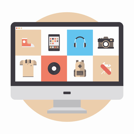shopping online: Flat design modern vector illustration concept of designer portfolio website with various icons or online shopping web store for purchasing product via internet  Isolated on white background