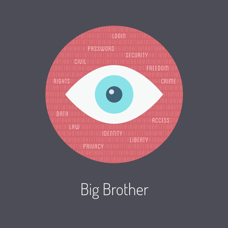 big brother spy: Flat design style modern vector illustration poster concept of big brother metaphor, internet security and safety