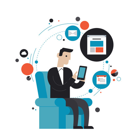 e data: Flat design style modern vector illustration concept of businessman in stylish suit using mobile phone or digital tablet Illustration