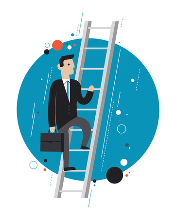 self development: Flat design style modern vector illustration concept of success businessman in stylish suit climbing upstairs symbolizing professional growth Illustration
