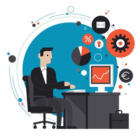 正式にビジネス男笑顔のフラットなデザイン スタイル モダンなベクトル イラスト コンセプトに合わせて、机に座っていると、オフィスのコンピュ