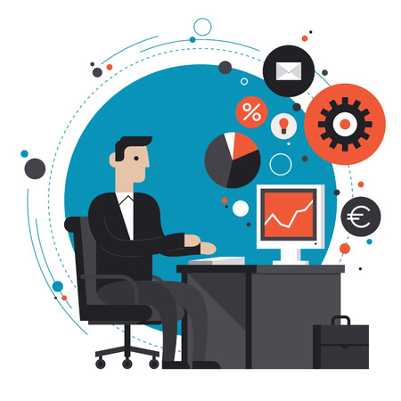 economic development: Flat design style modern vector illustration concept of smiling business man in formal suit sitting at the desk and working on computer in the office