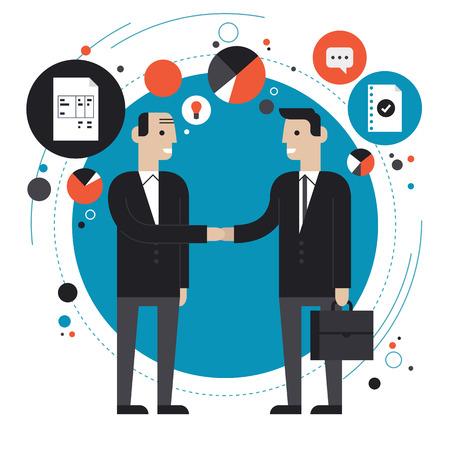 Plat ontwerp stijl moderne vector illustratie concept succesvol financieel partnerschap, zakenmensen samenwerkingsovereenkomst
