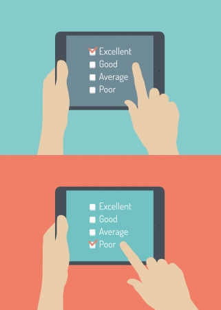 survey: Flat design style vector illustration concept of hand holding modern digital tablet with customer service survey form on screen with excellent and poor choice