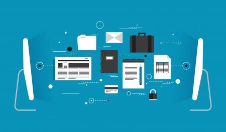 두 컴퓨터의 평면 디자인의 모던 한 벡터 일러스트 레이 션의 개념 무선 연결 및 인터넷 통신을 통해 클라우드 컴퓨터 기술과 다양한 데이터 정보를 전