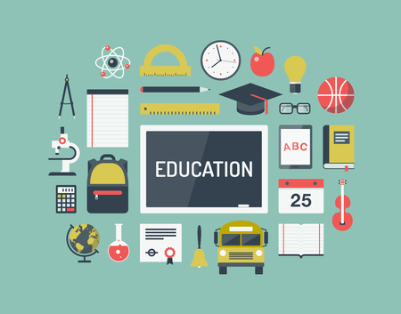 Moderne vlakke pictogrammen vector collectie illustratie begrip van de middelbare school objecten en universiteit onderwijs items met lesgeven en leren symbool