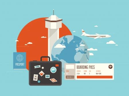 travel: 扁平的設計風格現代矢量插圖規劃一個暑假,網上預訂車票旅行,駕駛飛機前往目的地的概念 向量圖像