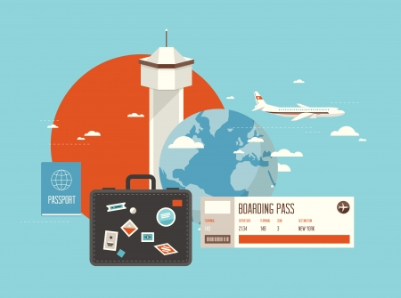 reizen: Plat ontwerp stijl moderne vector illustratie concept van het plannen van een zomervakantie, online boeken van een ticket op een reis, het vliegen van een vliegtuig naar de bestemming reizen