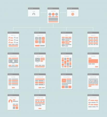 Estilo de diseño Flat vector moderno concepto de ilustración de abstract web organigrama sitemap conectar con flechas que describe una estructura de algoritmo de trabajo y la navegación del sitio Vectores