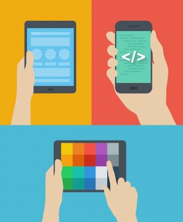 kódování: Ploché provedení ve stylu moderní vektorové ilustrace koncepce webové stránky kostry prototypování mobilní web rozhraní kódování, výběr barev paleta schéma na digitální tablet