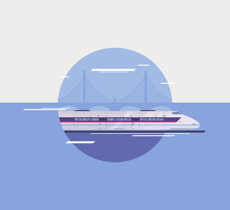 intercity: Flat design style modern vector illustration poster concept of modern city high-speed train crossing over bridge  Isolated in circle on stylish background  Illustration