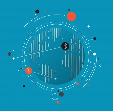 전세계에: 엔 및 달러 기호로 돈을 변환 세계 환율의 평면 디자인의 모던 한 벡터 일러스트 레이 션의 개념, 주식 시장에 대한 세계 무역