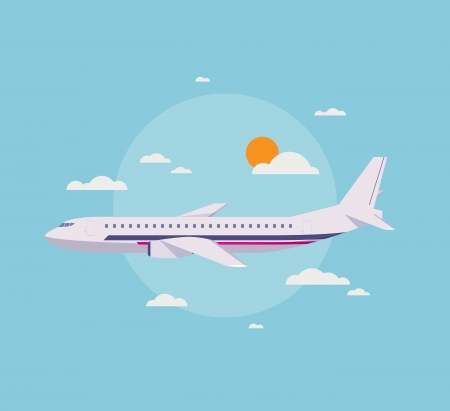 Flat design style modern vector illustration concept of modern detailed airplane flying through clouds in the blue sky  Stock Vector - 25514320