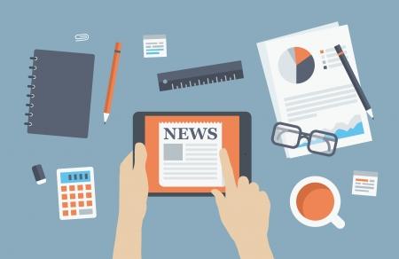 planos: Estilo de diseño Flat vector moderna ilustración concepto de persona de negocios que lee últimas noticias sobre la tableta digital de estar en el lugar de trabajo de negocios con artículos de oficina y objetos, papeles y documentos aislados en el fondo con estilo