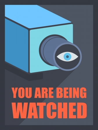 Flat design style modern vector illustration poster concept of video surveillance by the security service through CCTV camera, privacy control protection and public safety monitoring  Isolated on black background Vector