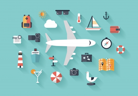 Flat design style modern vector illustration icons set of traveling on airplane, planning a summer vacation, tourism and journey objects and passenger luggage Ilustrace