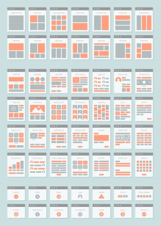 prototyping: Flat design style modern vector icons set of various website sitemap collection for creating flowchart navigation of web site architecture and prototyping site maps structure and interactions