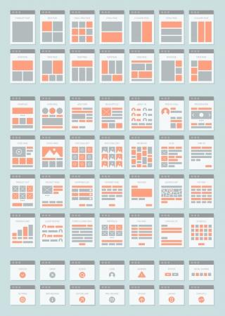 interactions: Plat ontwerp stijl moderne vector iconen set van diverse website sitemap collectie voor het creëren flowchart navigatie van de website architectuur en prototyping site maps structuur en interacties