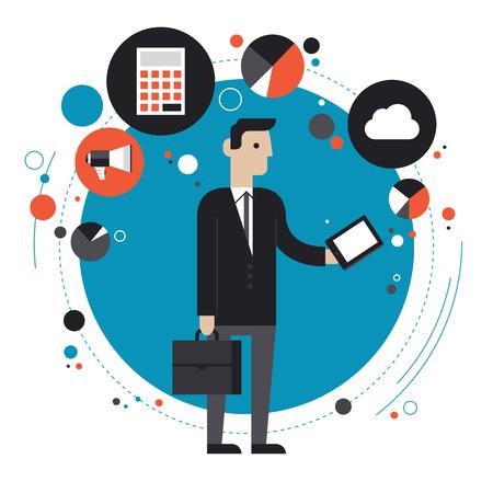 플랫: 평면 디자인의 모던 한 벡터 비즈니스 프로세스 조직, 라이프 스타일 루틴, 인터넷 검색 및 흰색 배경에 고립 된 다른 작업에 휴대 전화 나 디지털 태블릿을 사용하여 세련된 양복을 입은 사업가의 그림 개념 일러스트