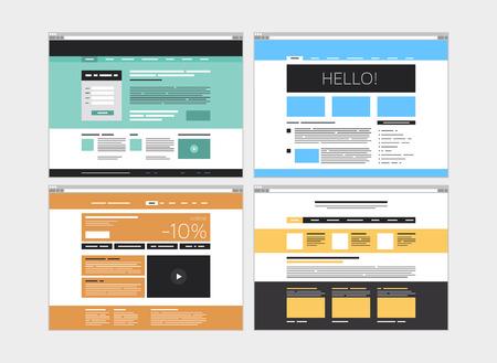 추상 웹 사이트 디자인 사용자 인터페이스의 평면 디자인의 모던 한 벡터 일러스트 레이 션 개념 흰색 배경에 고립 된 간단한 웹 요소와 최소한의 메뉴 일러스트