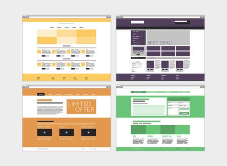 単純な web 要素とミニマルなメニュー ナビゲーション レイアウトから分離された白い背景の上でフラットなデザイン スタイル モダンなベクトル イ